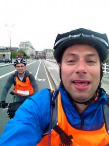 Mark and Simon riding over the river Thames